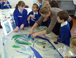 facilitating pupil's own designs for 'stained glass windows', vinyl film on acrylic, 2005